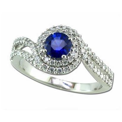 Twirl - 14K White Gold 5mm Round Blue Sapphire/Diamond Wedding Ring | RBC011S13WI