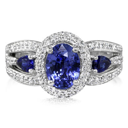 Enchanted - 14K White Gold 8x6 Oval Blue Sapphire/Diamond Wedding Ring | RBC012S13WI