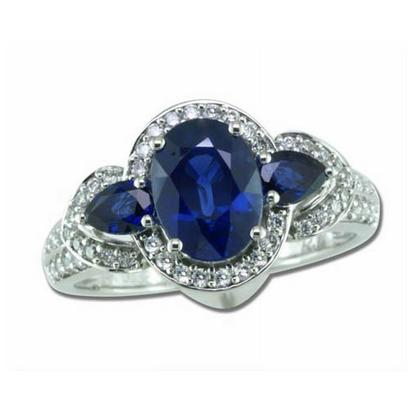 Legend - 14K White Gold 8x6 Oval Blue Sapphire/Diamond Wedding Ring | RBC013S13WI
