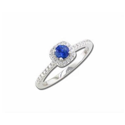 Hint - 14K White Gold 4mm Round Blue Sapphire/Diamond Wedding Ring | RBC017S13WI
