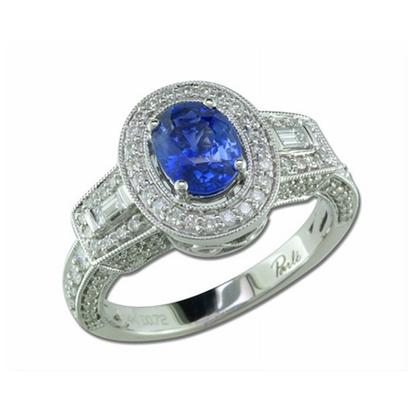 Regal - 14K White Gold 5x7 Oval Blue Sapphire/Diamond Wedding Ring
