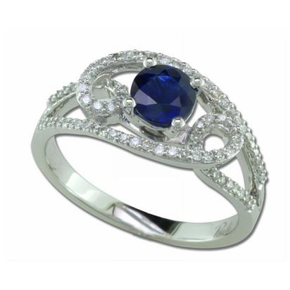 Galaxy - 14K White Gold 5.5mm Round Blue Sapphire/Diamond Wedding Ring | RBC029S13WI