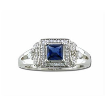 Evermore - 14K White Gold 4.5mm Princess Blue Sapphire/Diamond Wedding Ring | RBC032S13WI