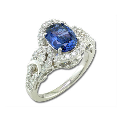 18K White Gold 9x7mm Oval Blue Sapphire/Diamond Wedding Ring | RBC058S00QI