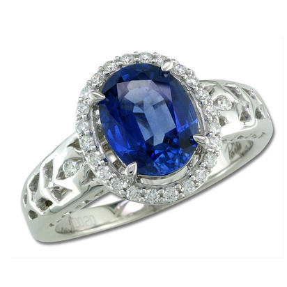 18K White Gold 9x7mm Oval Blue Sapphire/Diamond Wedding Ring | RBC060S00QI