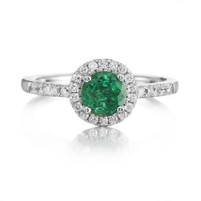 14K White Gold Emerald/Diamond Wedding Ring | RBC065E11WI