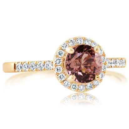 14K Rose Gold Lotus Garnet/Diamond Wedding Ring