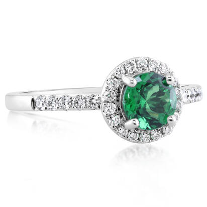 14K White Gold Tsavorite/Diamond Ring | RBC065V21WI