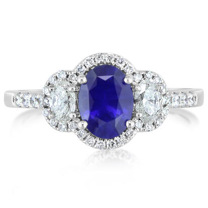 14K White Gold Sapphire/Diamond Wedding Ring | RBC067SC1WI