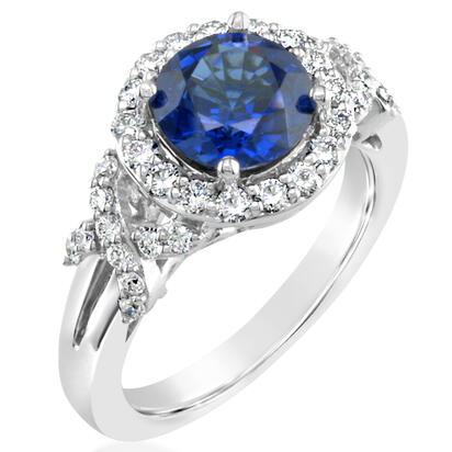 18K White Gold 8mm Round Blue Sapphire/Diamond Wedding Ring | RBC501S00QI