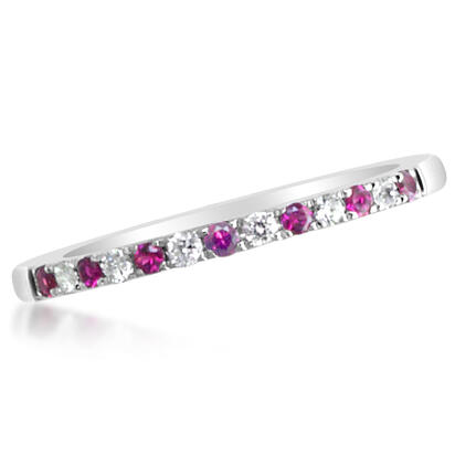 14K White Gold Ruby/Diamond Wedding Band | RBC900R11WI