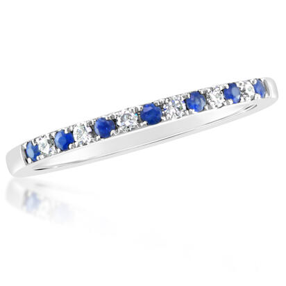 14K White Gold Sapphire/Diamond Wedding Band | RBC900S11WI
