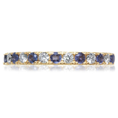 14K Yellow Gold Yogo Sapphire/Diamond Wedding Band