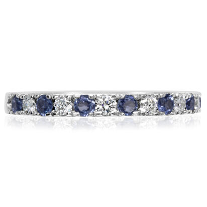 14K White Gold Yogo Sapphire/Diamond Wedding Band