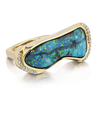 18K Yellow Gold Australian Boulder Opal/Tsavorite/Diamond Ring | RBOFF5841247E