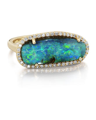 14K Yellow Gold Australian Boulder Opal/Diamond Ring | RBOFF733771C