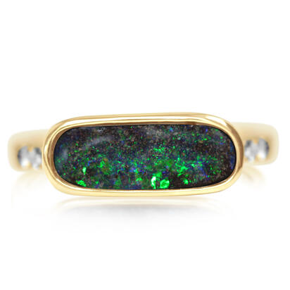 14K Yellow Gold Australian Boulder Opal/Diamond Ring | RBR0161B2CI