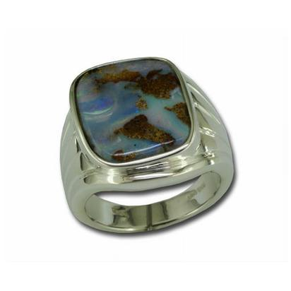 Sterling Silver Boulder Opal Ladies Ring | RBR0351BXSI