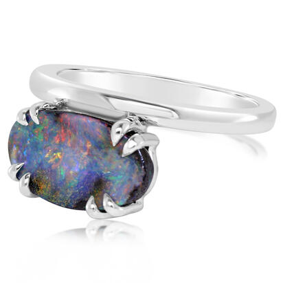 Sterling Silver Australian Boulder Opal Ring | RBR0591AXSI