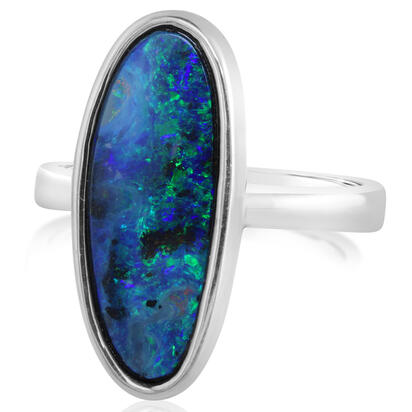 Sterling Silver Australian Boulder Opal Ring | RBR076SI