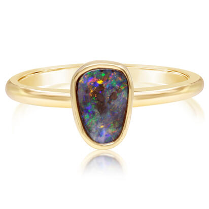 14K Yellow Gold Australian Boulder Opal Smooth Shank Ring | RBR262-3I