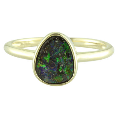14K Yellow Gold Australian Boulder Opal Smooth Shank Ring | RBR262-9I