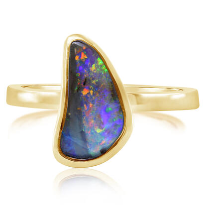 14K Yellow Gold Australian Boulder Opal Smooth Shank Ring | RBR2621CXCI