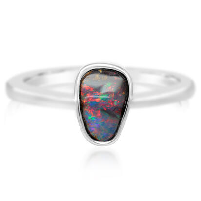 Sterling Silver Australian Boulder Opal Smooth Shank Ring | RBR262SI