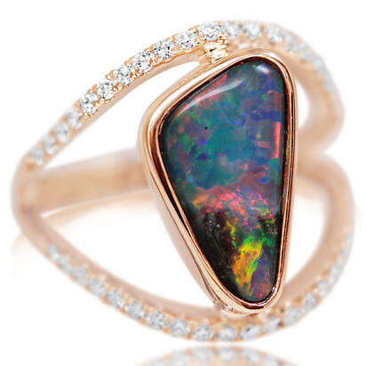 14K Yellow Gold Australian Boulder Opal/Diamond Ring | RBR271I