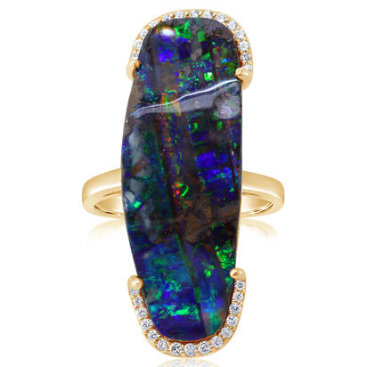 18K Yellow Gold Australian Boulder Opal/Diamond Ring | RBR4A1665E