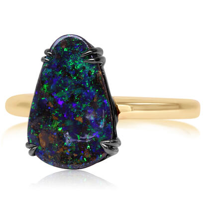 14K Yellow Gold/Ss Australian Boulder Opal Ring with Blackened Prongs | RBR6001BX6I