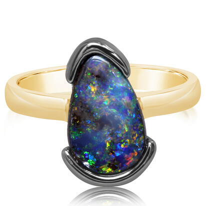 14K Yellow Gold/Ss Australian Boulder Opal Ring with Blackened Half Bezel | RBR6011BX6I