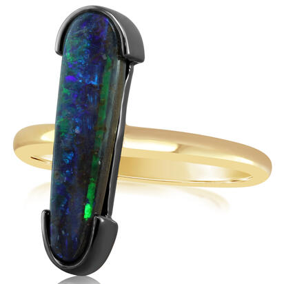 14K Yellow Gold/Ss Australian Boulder Opal Ring with Blackened Half Bezel | RBR6011DX6I