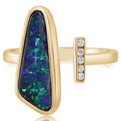 14K Yellow Gold Australian Boulder Opal/Diamond Ring | RBR6021A3C