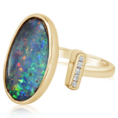 14K Yellow Gold Australian Boulder Opal/Diamond Ring | RBR6021B3CI