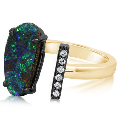 14K Yellow Gold/Blackened Sterling Silver Australian Boulder Opal Ring | RBR6021C36I
