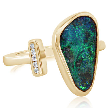 14K Yellow Gold Australian Boulder Opal/Diamond Ring | RBR6021C3CI
