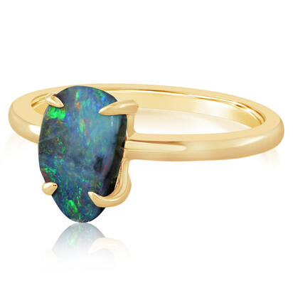 14K Yellow Gold Australian Boulder Opal Ring | RBR6061EXCI