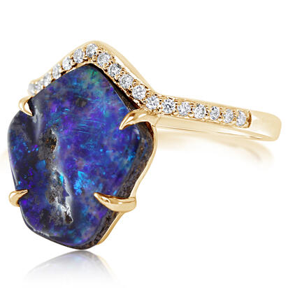 14K Yellow Gold Australian Boulder Opal/Diamond Ring | RBR6071C3CI