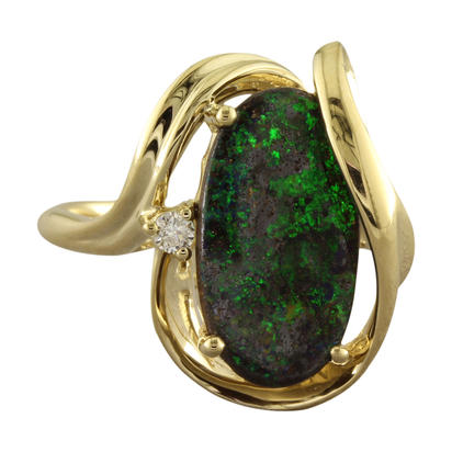 14K Yellow Gold Australian Boulder Opal/Diamond Ring | RBR9071C3CI