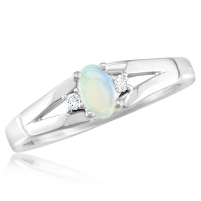 10K Yellow Gold 3x5 Oval Australian Opal/Diamond Ring | RBS001N22T