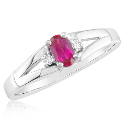 10K Yellow Gold 3x5 Oval Created Ruby/Diamond Ring | RBS001R92T