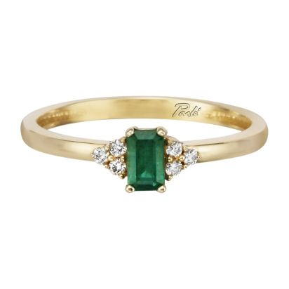14K Yellow Gold Emerald/Diamond Ring | RCC026E23CI