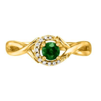 14K Yellow Gold Emerald/Diamond Ring | RCC034E23CI