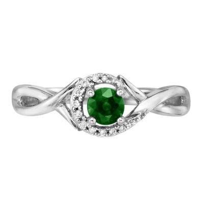 14K White Gold Emerald/Diamond Ring | RCC034E23WI