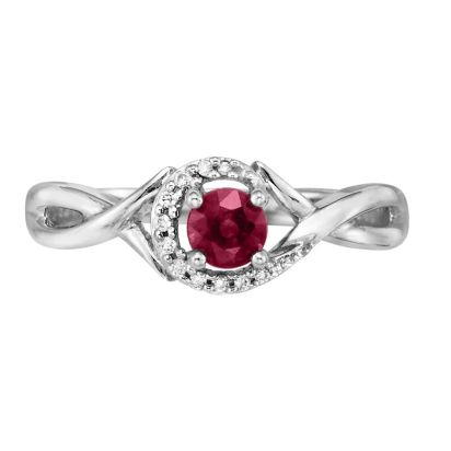 14K Yellow Gold Idaho Garnet/Diamond Ring