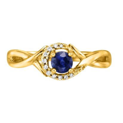 14K Yellow Gold Blue Sapphire/Diamond Ring | RCC034S13CI