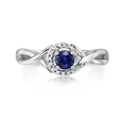 14K White Gold Blue Sapphire/Diamond Ring | RCC034S13WI
