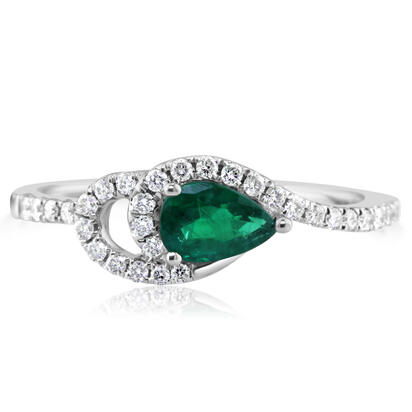 14K White Gold Emerald/Diamond Ring | RCC049E03WI
