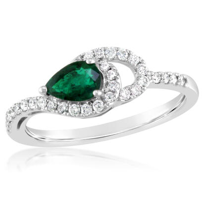 14K White Gold Emerald/Diamond Ring | RCC049E23WI
